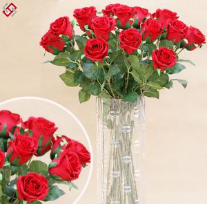 High Quality Single Stem Artificial Silk Rose For Sale Artificial