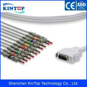China Fukuda Denshi DB15Pin EKG Cable,10/12 lead EKG/ECG Cable,Snap,IEC,TPU material on sale