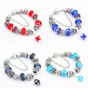 China 925 sterling silver multi-color bead bracelet with charms for gifts on sale