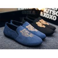 Autumn Slip On Vintage Loafer Shoes Embroidered Men Dress Shoes Black Blue