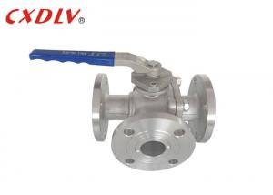 China Full Bore SS 3 Way Flanged Ball Valve T /  L Port Floating Valve on sale