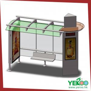 China advertising signage road sign bus shelter , stainless steel bus station on sale