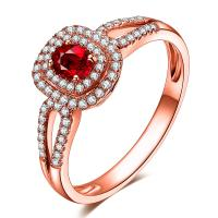 Roylty Style Luxury Red Ruby Diamond Cluster Engagement Rings In Solid Gold