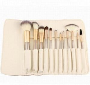 China 12 Pcs Cosmetic Brush Set Wood Handle And Champagne Color With Kit on sale