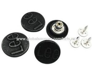 China Jeans button with embossed logo,various colors and sizes are available on sale