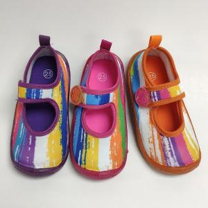 China TPR Kids Aqua Shoes , Rainbow Printed Lightweight Water Shoes on sale