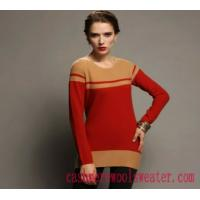 China Lady Crew Neck Stripe Cashmere Sweater on sale