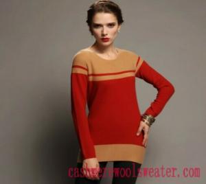 China Lady Crew Neck Stripe Cashmere Sweater on sale