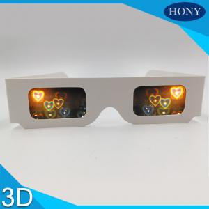 China Double Cardboard Frame heart diffraction glasses , 3d eye glasses For Lovers on sale