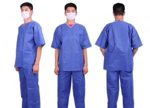 China Nonwoven Patient Surgical Disposable Scrub Suits Medical Patient Gowns V Or Round Neck on sale