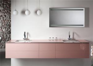 China Hanging Design Pink Prima Vanity Mirrored Bathroom Wall Cabinets Ceramic Basin on sale