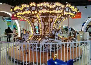 China 3KW Up Transmission Carousel Amusement Ride , 12 Seats Luxury Carousel Horse Ride on sale