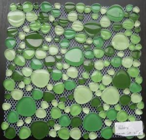 China Green Mixed Pebble Crystal Glass Mosaic Tile For Bathroom Wall, Anti-Dust on sale