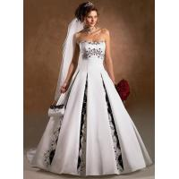 Custom Made New Satin White and Black Embroidery Bride Wedding Dress Online