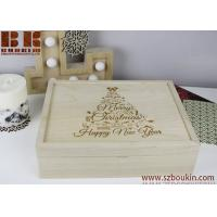 China Engraved Merry Christmas Wood Box Christmas Eve Box Holiday gift Family present on sale