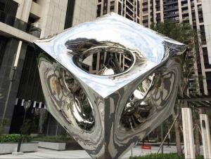 China Contemporary Stainless Steel Sculpture Light Cube Highly Polished Plaza Decoration supplier