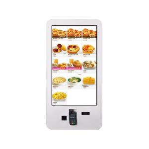 China Fast Food Ordering Self Service Digital Signage Wall Mount With Printer Camera on sale