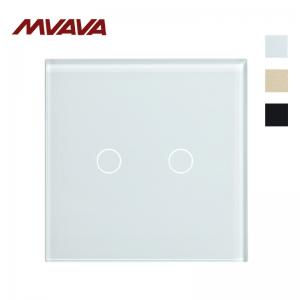 China MVAVA EU /UK single live luxury Crystal Glass plate 2 Gang smart home touch switch light switch on sale