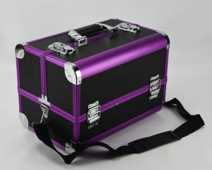 China Protable Anodize Purple Aluminum Vanity Cosmetic Case Size 300 * 220 * 245mm on sale