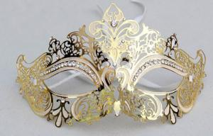 China Unique Couples Gold Half Face Metal Masquerade Mask For Wedding on sale