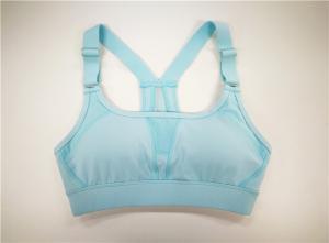 China Sky Blue Womens Sportswear Vest / Yoga Vest Polyester Mesh Inserted Race Back on sale