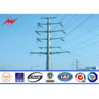 69 kv Octagonal Electrical Galvanized Steel Pole With Galvanized Steel Cross Arms