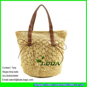 China LUDA hand knitting straw tote bag natural paper straw women bag on sale