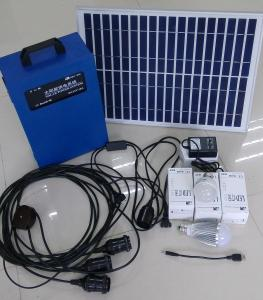 China 20W integrou o sistema de iluminação solar do diodo emissor de luz, com a bateria 12V/17Ah acidificada ao chumbo, as lâmpadas do diodo emissor de luz 5W, e o adaptador da C.A. on sale
