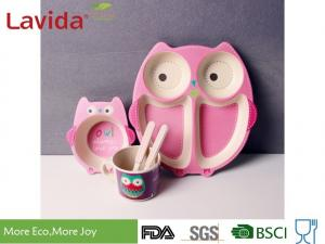 China Formaldehyde Free Bamboo Childrens Dinnerware Shatter Proof Cartoon Owl Animals Patterns supplier