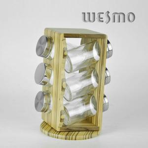 China Custom Environmentally Friendly Bamboo Spice Rack with 6pcs Glass Spice Shakers on sale