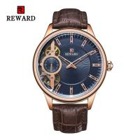 2.5D Mineral Glass Mens Stainless Steel Watches Double Movement Leather Strap