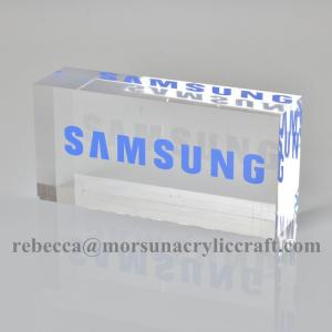 China Solid Lucite Logo Block Perspex Sign Block Transparent Acrylic Branding Block on sale