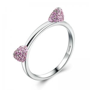 China 925 Sterling Silver Simple Animal Cute Cat Ears Shape Cat Ring on sale