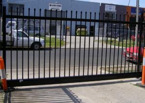 China Gray Black Steel Garden Fence , Tubular Picket Fence With Flat Top High Strength on sale