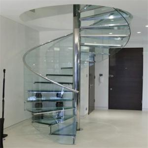 China Glass tread modern spiral staircase design on sale
