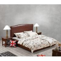 Glassic design of Leisure Bedroom Furniture Upholstered Headboard Bed by True Leather with High density Sponge covered