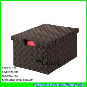 China LDKZ-023 espresso brown home stoage container double woven strap file storage box with lid on sale