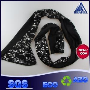 China Black Seamless Skull Winter Knitted Scarf For Men Embroidery Logo Available on sale
