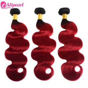 China Brazilian 1B/Red Body Wave Ombre Curly Hair Weave 3 Bundles With Dark Roots on sale