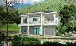 A casa de campo rural pré-fabricada com armação de aço leve, monta rapidamente o alojamento modular da casa pré-fabricada