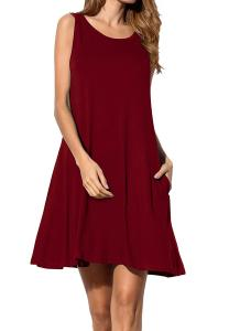 China Burgundy T Shirt  Style Womens Casual Summer Dresses With Pocket on sale