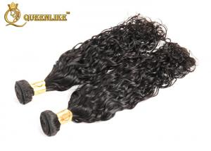 China Real Human Hair Extensions , Virgin Indian Curly Hair Weaves Natural Black on sale