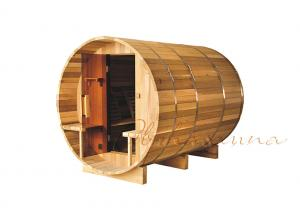 China OEM Natural Canadian Red Cedar Deluxe Barrel Sauna For Outdoor Dry Sauna on sale