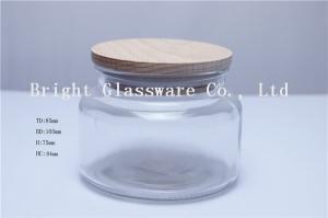 China 10のozの木のふたが付いているガラス蝋燭の瓶 on sale