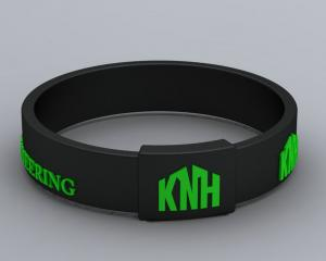 Quality Black Customized Silicone Balance Bracelet With Green Knh Logo For