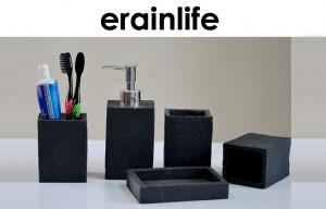 China Square Shape Natural Slate Sandstone Bathroom Accessory Sets 5 Pcs Black Color on sale