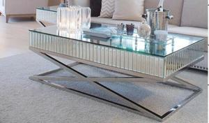 Marvelous High Polish Steel Silver Mirror Table Living Room Mirrored Pabps2019 Chair Design Images Pabps2019Com