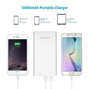 China Lightweight Poweradd Power Bank 10000mAh Silver Portable Charger Battery Pack on sale