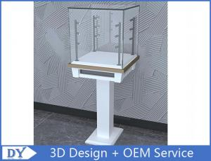 China Free 3D design modern fashion wooden tempered glass display cabinets with 4 pcs led spot lights on sale