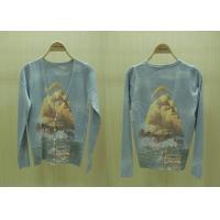 Womens Fine Knit Sweaters V Neck Blue Ocean Printed Cardigan Knitwear